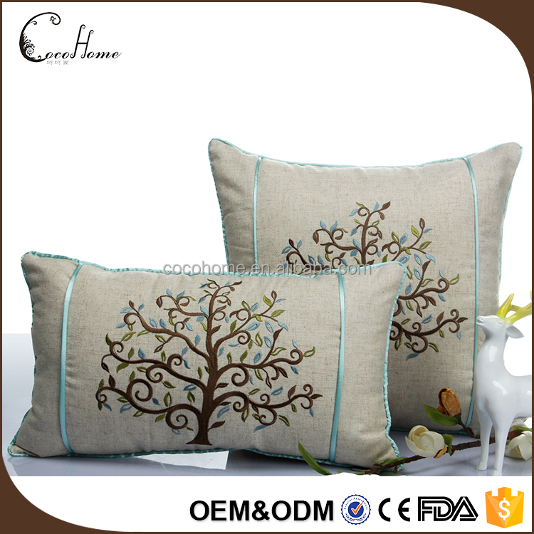 Promotional new design 45x45 cotton linen blue tree hand embroidery cushion covers decorative sofa cushion