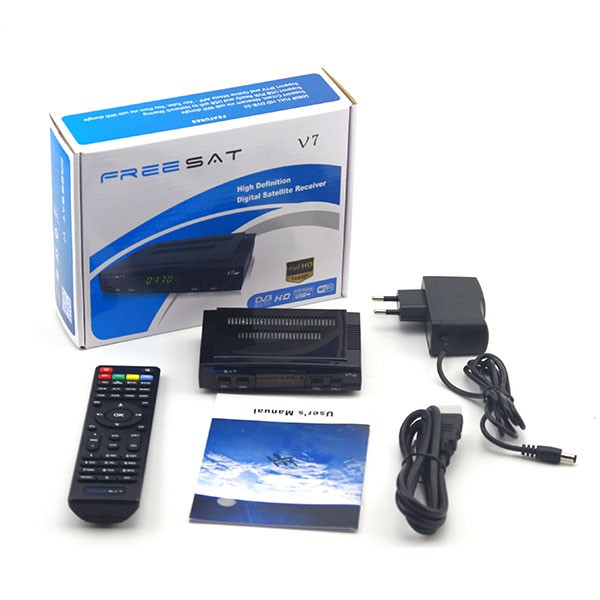 Hot sale mini digital FTA DVB-S2 satellite tv receiver Freesat V7 support powervu, bisskey and patch for Aisa, Africa market