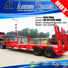 50tons 13m tri-axle low flatbed truck trailer excavator carrier/Crane trailer with mechanical ramps