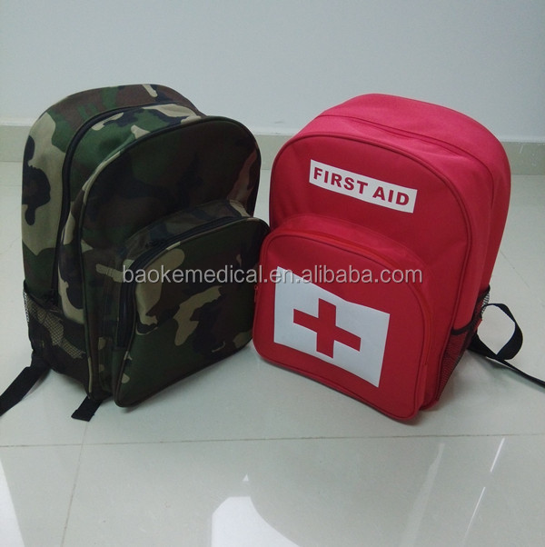BK-E01 backpack type disaster survival kit with emergency first aid rescue devices and first aid supplies