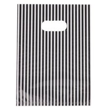 White & Black Stripe Plastic Carrier Bags Fit Shopping Boutique Gift bag 20x14cm