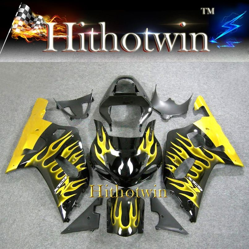 K1 ABS yellow flames Fairing For Suzuki GSXR 600/750 2001 2002 2003 Kit Set Fit GSXR600 GSXR750 2001 2003