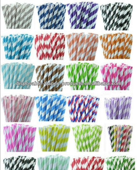 Stripe Paper Straws - Party Straw Package with DIY Straw Flags - Wedding Birthday Bridal Baby Shower