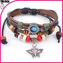 Wooden ball butterfly style restoring ancient ways euramerican popularity hand woven bracelets