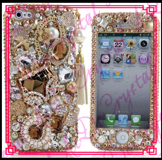 Aidocrystal luxury Gold Rhinestone bling shiny mobile phone diamond cover for women