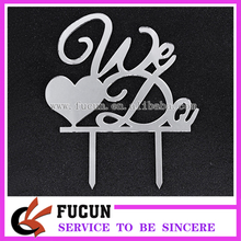2017 latest wedding decoration love spousal We Do mirror silver acrylic cake topper