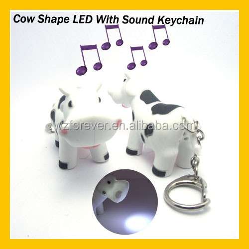 Hot Sales HT2085 Plastic Cow Shaped Sound Keychain With Mini Flashlight