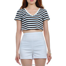 Custom Ladies Crop Top 2015 Woman Cotton Stripes T shirt