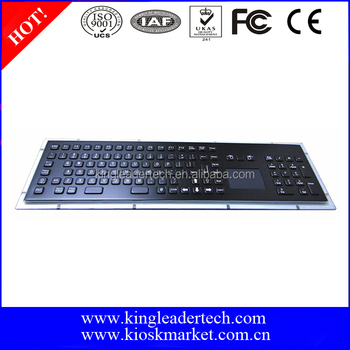 IP65 black industrial metal keyboard with touchpad