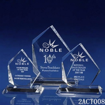 Noble high quality free engraving custom Blank Crystal trophy plaque awards