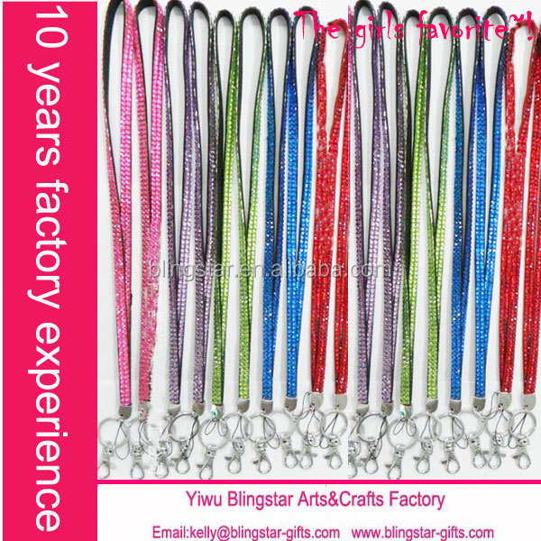 Hot selling wholesale diamond crystal rhinestone lanyard with keychain