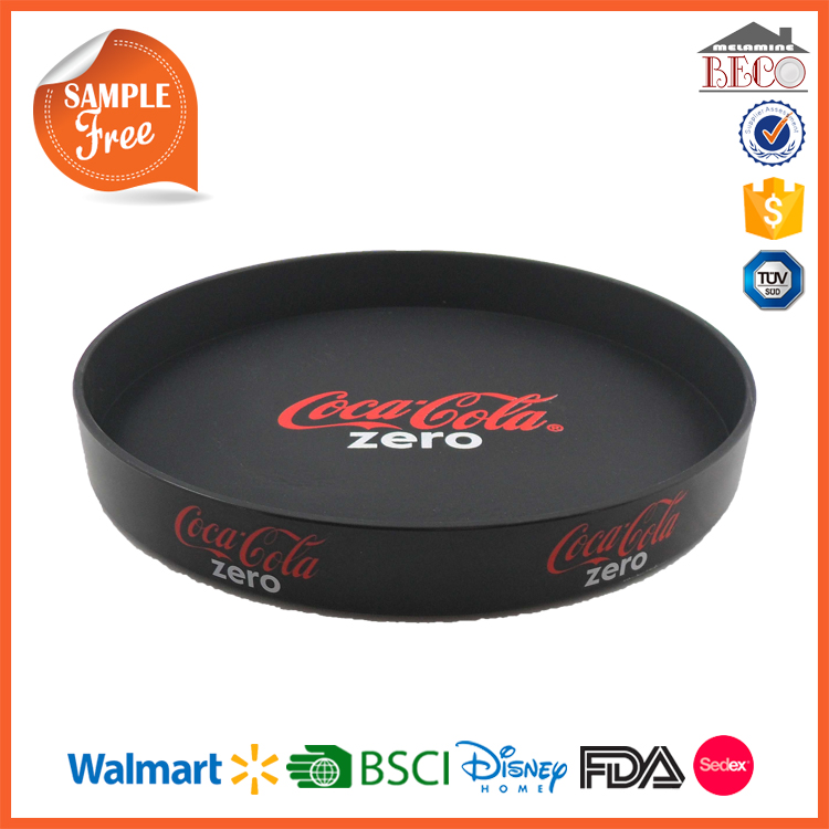 High quality cheap Round printed Plastic Melamine Bar Tray with design