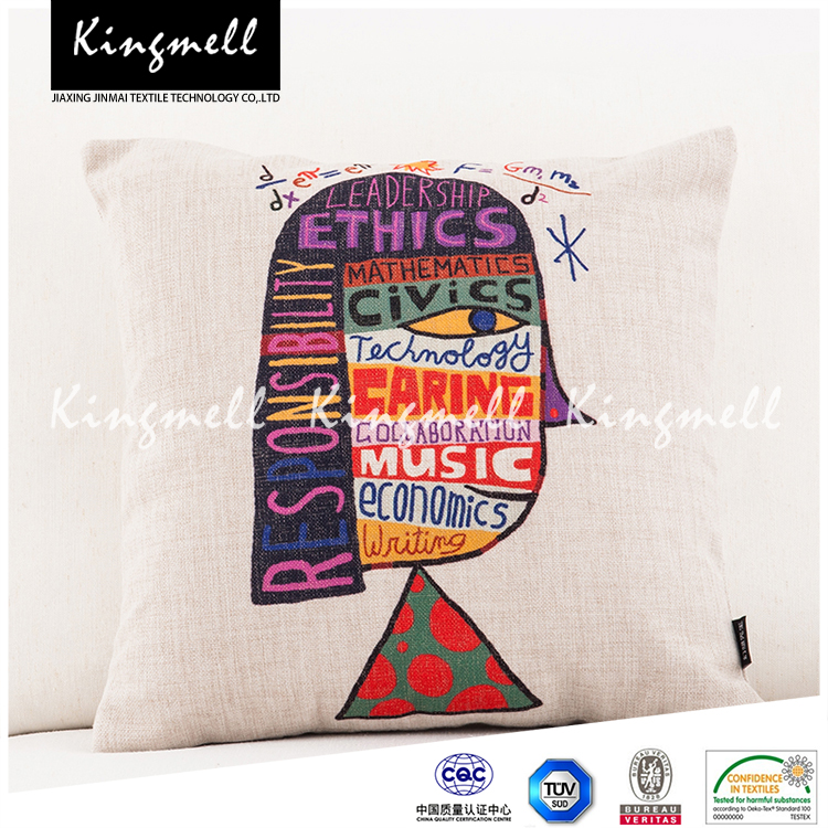 Digital printed cushion cover OEM cotton canvas throw pillow cover
