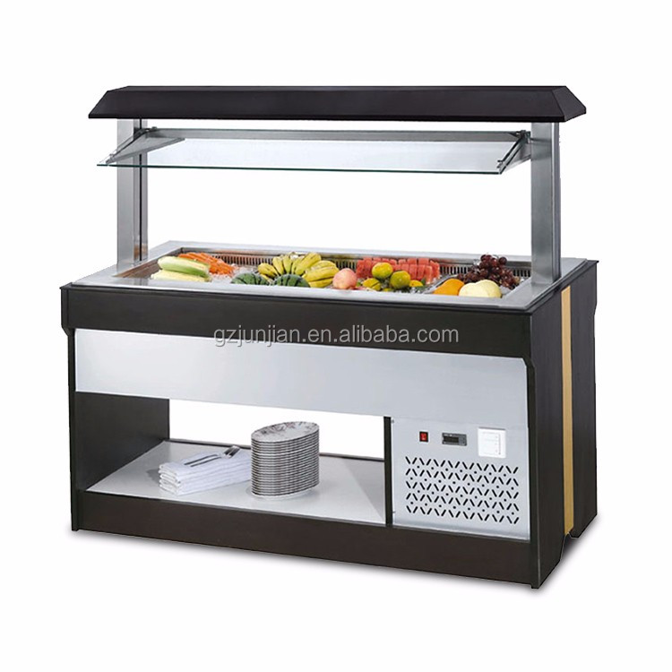 CE Certification food buffet display marble island type Salad Bar Refrigerator