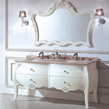 Fine Handmade Victorian Wood Bathroom Cabinet, Double Sink Classic White Free Standing Bathroom Furniture WTS311