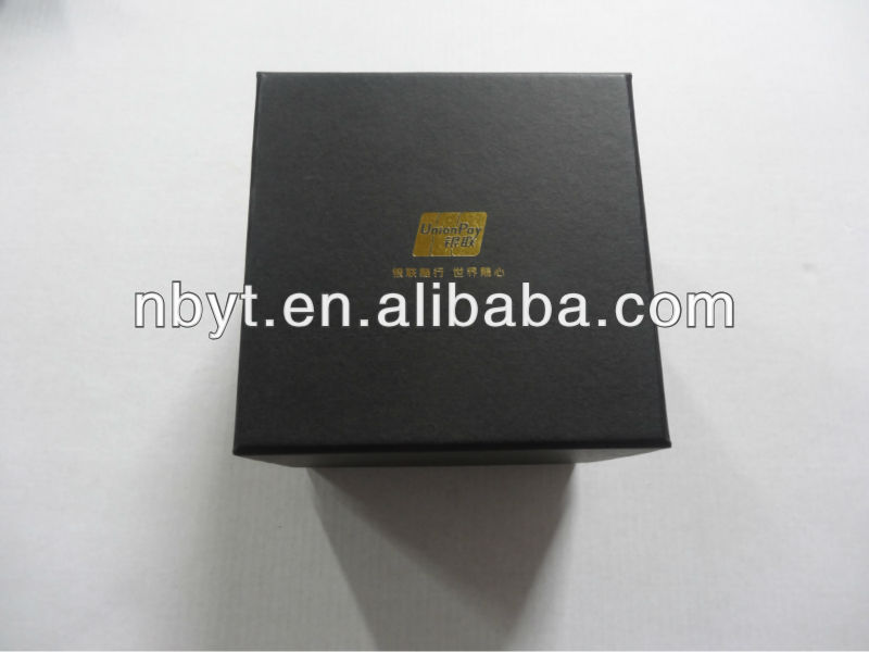black paperboard box, packaging for UnionPay