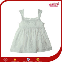 wholesale new fashion design one piece plain snow white cotton materials sex small girls sleeveless patterned dress