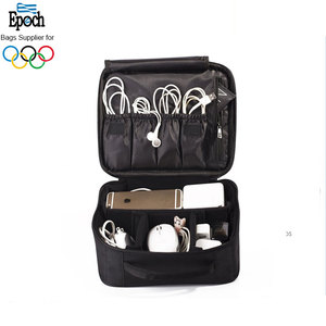 Wholesale mini 9.8'' travel makeup bag with tote handle, custom small cable organizer