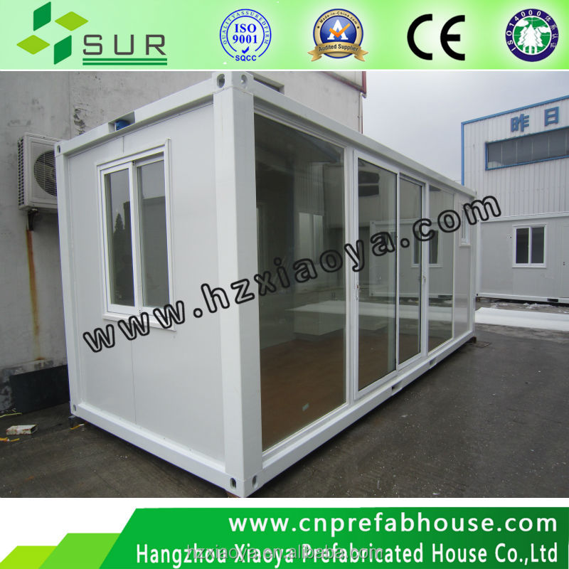 modern design container house with full glass for sunny house