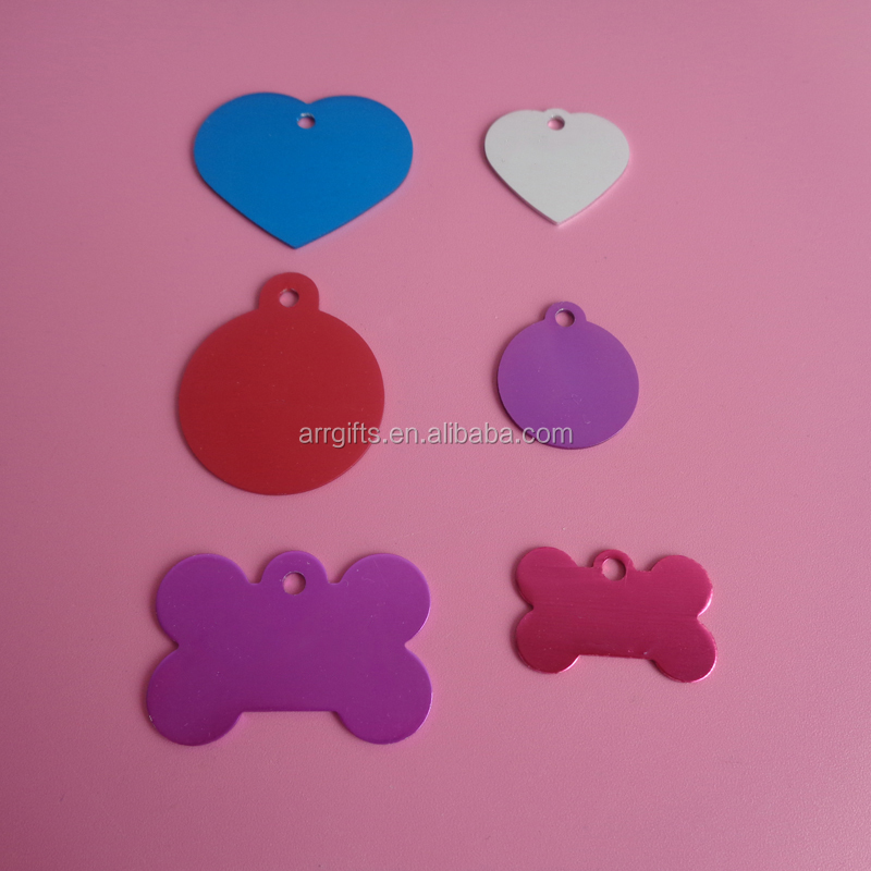 Wholesale Aluminum Anodized Heart Round Bone Shapes Dog Tags Metal Tags Pet ID Tag