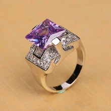 High quality sliver love crystal zircon wedding ring