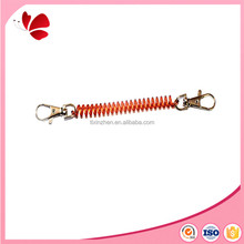 different sizes tpu plastic spiral coils cord with keyrings hook