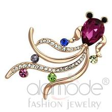Fashion Designer Jewelry Flash Rose Gold Plated White Metal Fuchsia Purple Glass Bead Fish Animal Brooch