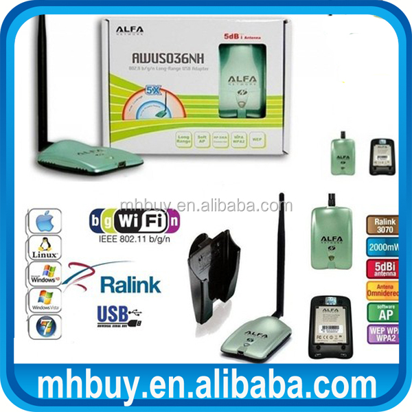 150Mbps 802.11b/g/n USB External Wireless Alfa AWUS036NH wireless adapter wi fi adapter