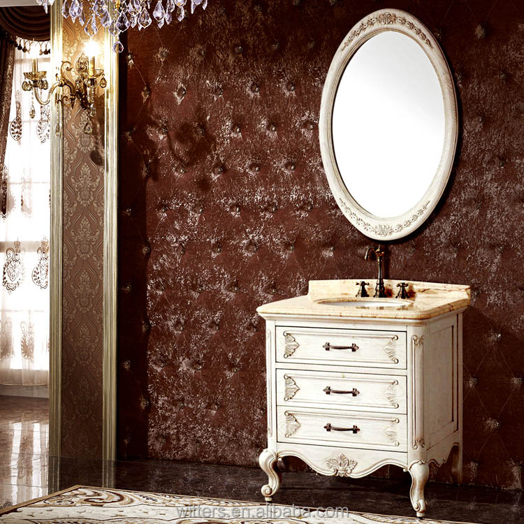 Antique White Bathroom Furniture with Marble,French Provincial Bathroom Vanity Units WTS606