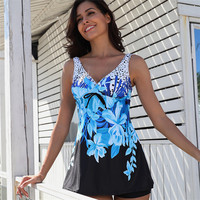 QY3952 Wholesales Two Piece Printed Swimwear Tankini For Women