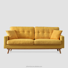 Wholesale Nordic Modern Fabric Yellow Filling Feather Three seat Fabric Sofa
