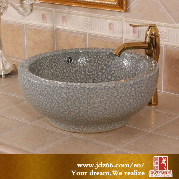 Jingdezhen famous artists fancy good quality ceramic bathroom double-layer deep basin sink