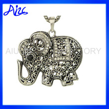 Solid Silver Elephant Pendant Necklace