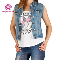 Women custom and wholesale high quality button denim vest with blue casual jeans waistcoat