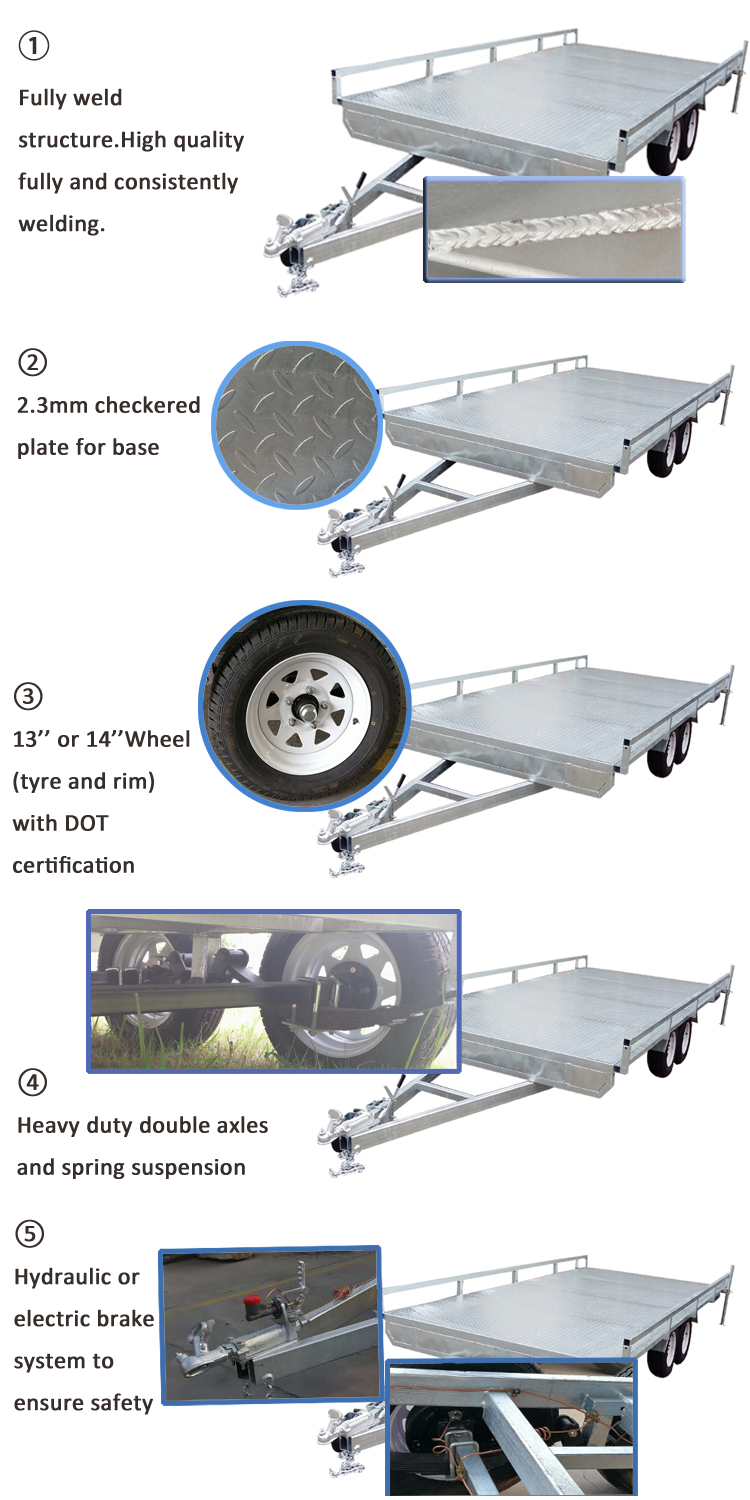 Heavy duty Tandem Top Flat Deck Bed Car Trailers Qingdao Factory Supply
