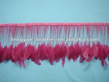 Factory wholesale cheap colourful fabric party dress sation ribbon tape strunge fringe trim stripped rooster cock tail feather