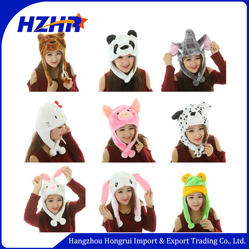 Hot sale funny warm adult animal winter hats with ears