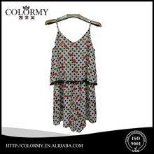 young lady cherry print sexy camisole v neck strip playsuit