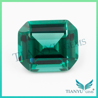Gemstone Processing 10*11mm Russian Synthetic #22 Emerald Green Octangon Nano sital Stone