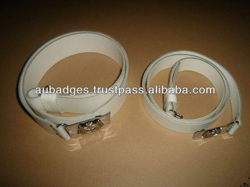White Leather Waist Belt for marching band with customized buckle