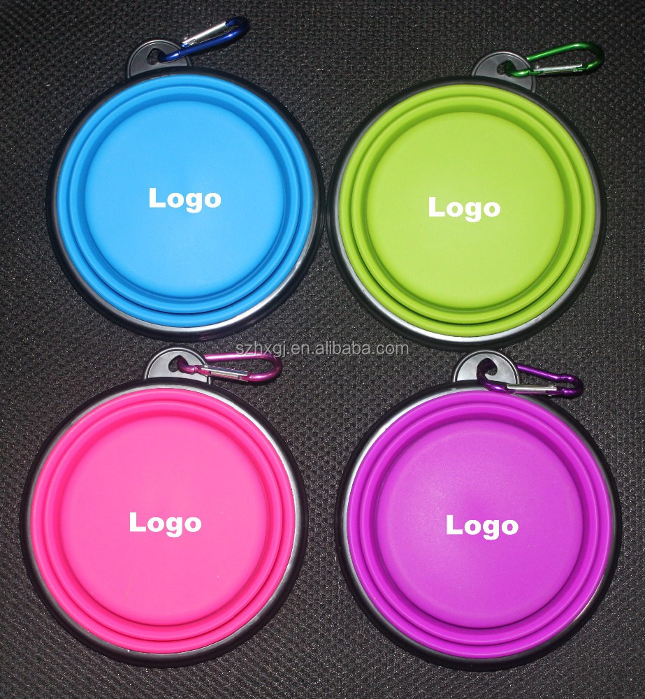 In - stock private label customized logo collapsible silicone travel dog bowls