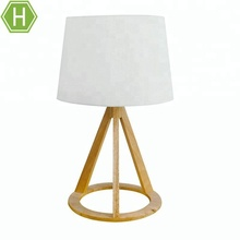 E27 Linen Lampshade Wooden Base White Bedside Light Table Lamps