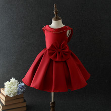 nice lovely child baby girls red puffy prom dress for 3 years old kids