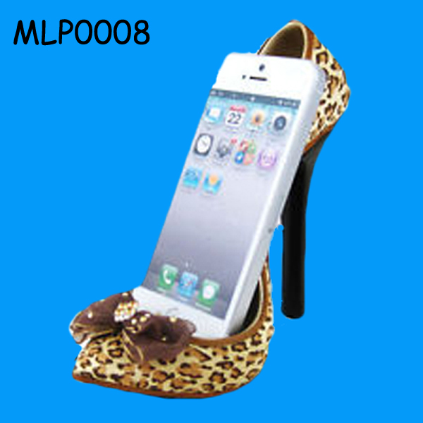 Hot Sale cheetah print pump High-heel Shoe Phone Holder