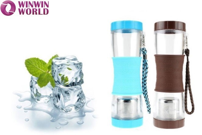 Plastic Unbreakable Portable PC Water Bottle With Tea Infuser