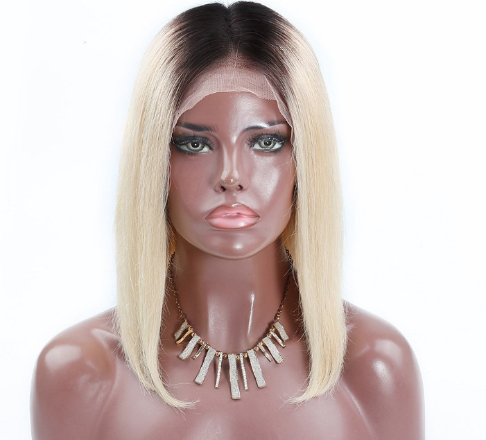 1B/613 ombre blonde human hair front lace/full lace wig BOB short virgin remy hair neat blunt cut