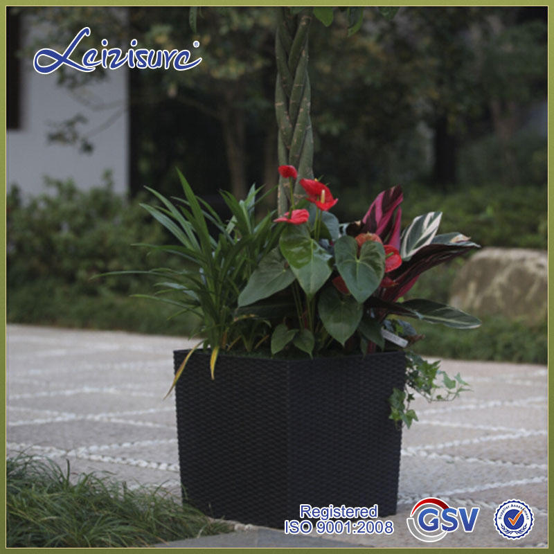 Top quality Braided lines shape control watering square series plastic garden pot & rattan fiber planter TB01