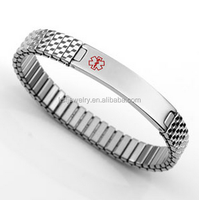 Stainless Steel Expansion Band Medical Alert Bracelet Custom Jewelry Tags