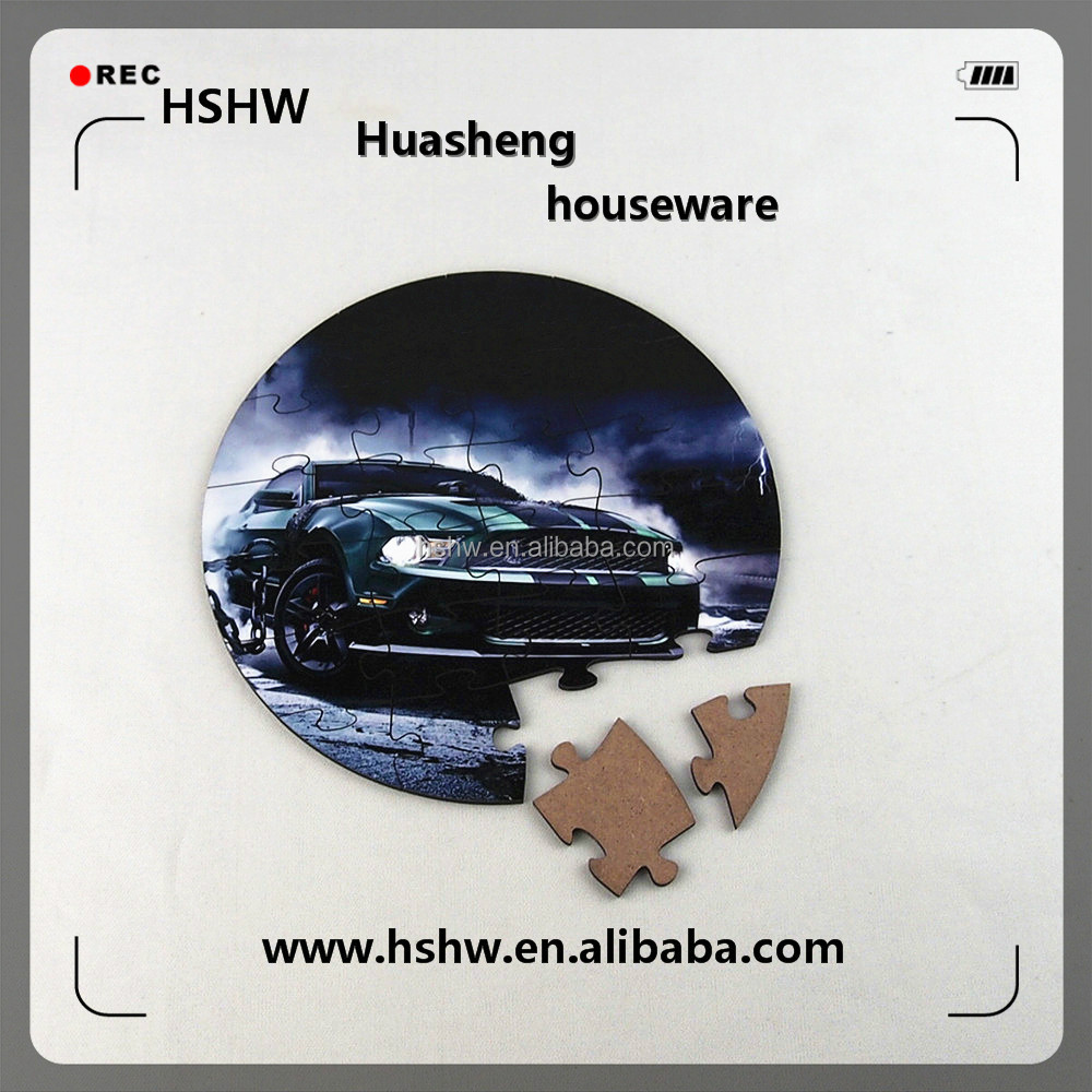 New arrival!blank round shape jigsaw,sublimation wood puzzle