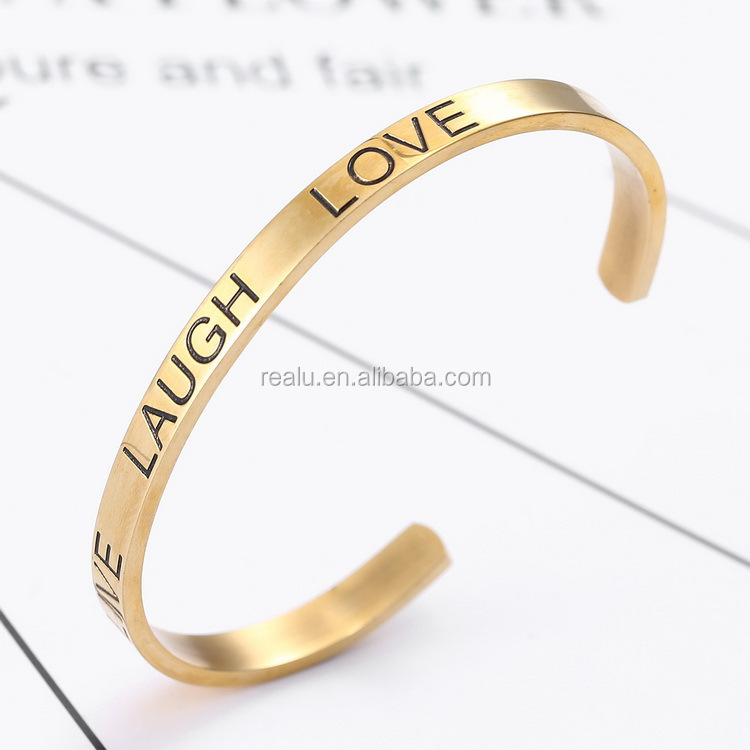 """Live Laugh Love"" Inspirational Messaged Engraved Cuff Bracelet Wholesale"